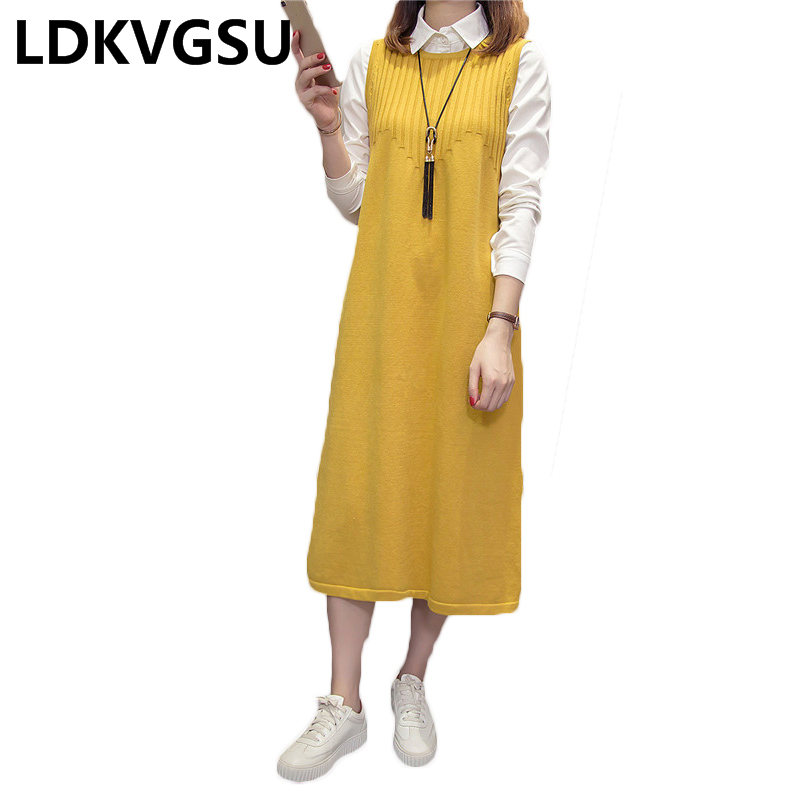 Knitted Vest Dress Women' Long Loose Large Size Sleeveless Sweater Dresses 2018 Autumn Winter New Sleeveless Sweater Tide Is1478