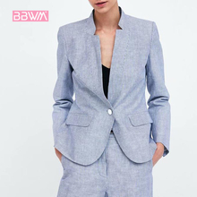 2018 new slim slimming professional autumn women's suit jacket formal wear overalls one button stand collar