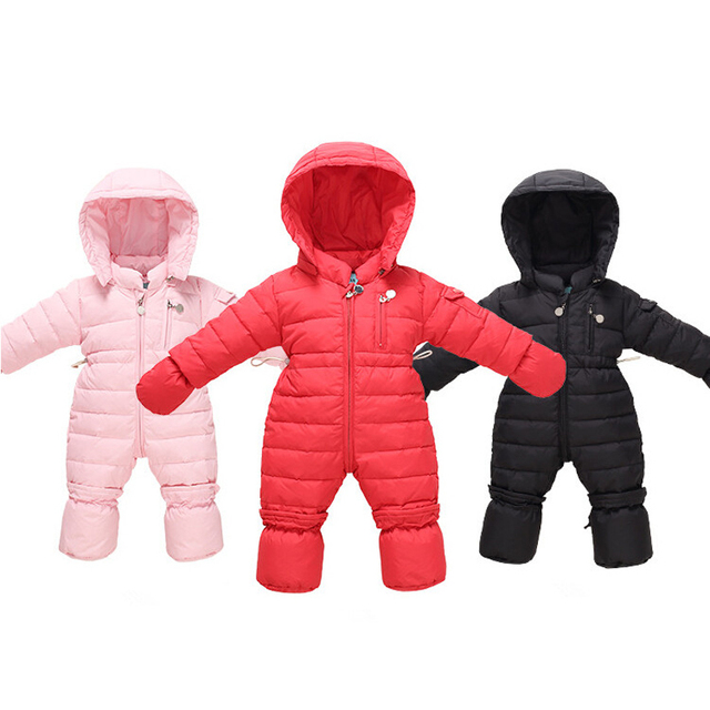 Newborn Winter Soft Duck Down Baby Boy Girl Down Coat Infant Warm Solid Hooded Kids Jacket Long Sleeve Toddler Coverall Snowsuit