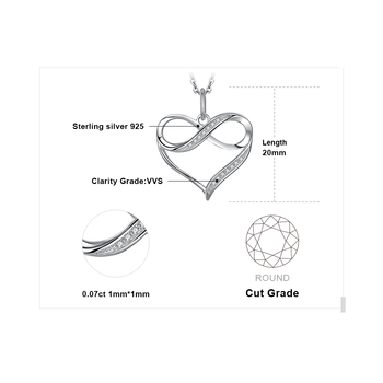 Infinity Love Heart Silver Pendant Necklace  Sterling Silver Statement Necklace  4