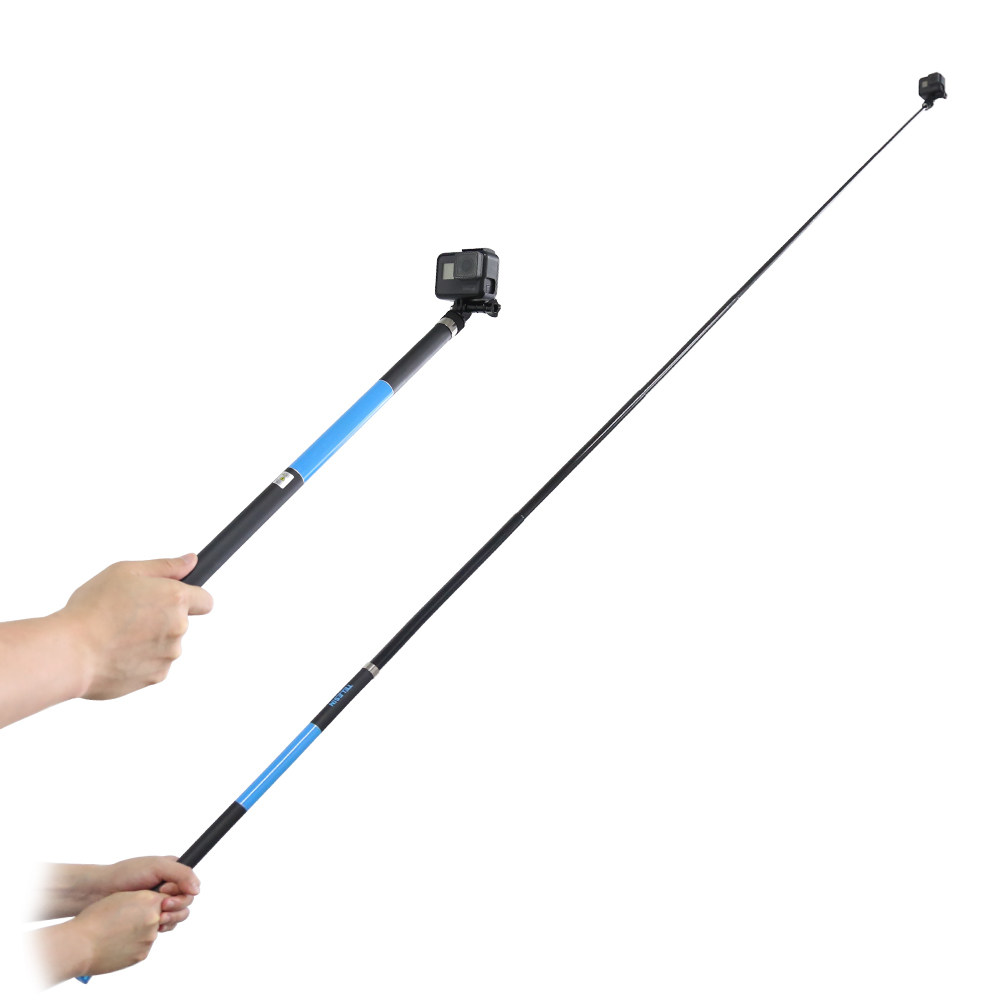 TELESIN 106 Long Carbon Fiber Handheld Selfie Stick Extendable Pole Monopod for GoPro Hero 6 5 4 3 Xiaomi YI SJCAM Eken SOOCOO unfolded 480mm pole extendable waterproof tripod selfie stick handheld monopod dive for gopro hero 4 3 3 2 sj4000 for xiao yi