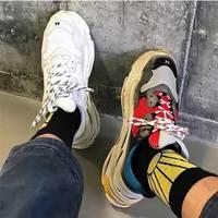 Разноцветные кроссовки на толстом каблуке, повседневные кроссовки на шнуровке, Мужская обувь в стиле вулканизации, обувь на платформе в сти