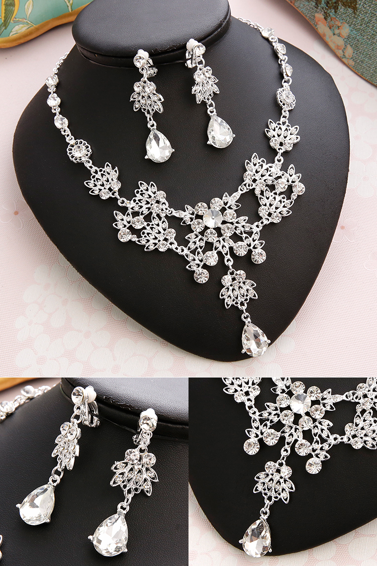 Wedding Sets for Women Bling Bride Hair Accessories Tiaras Earrings Necklace Wedding Jewelry Sets (8)