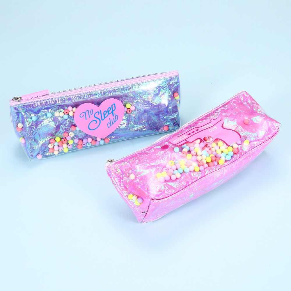 Laser hologramme crayon Zipper housses pour femmes sacs à cosmétiques maquillage organisateur poche fournitures scolaires stockage cadeau sac livraison directe