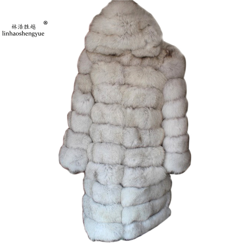 Linhaoshengyue 100CM length The real fox coat with hood
