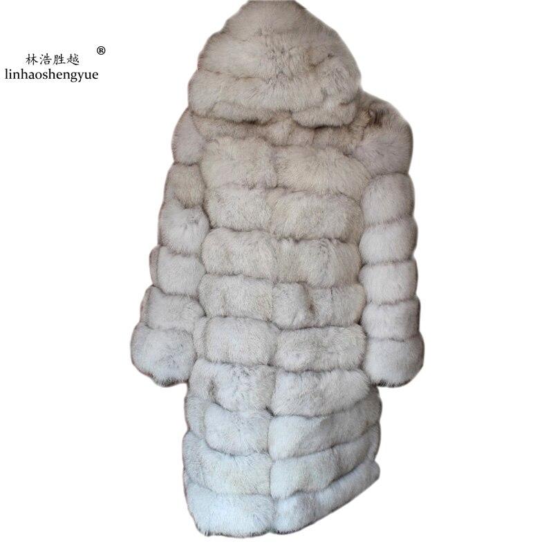 Linhaoshengyue 100 cm longueur La réel renard manteau avec capuche