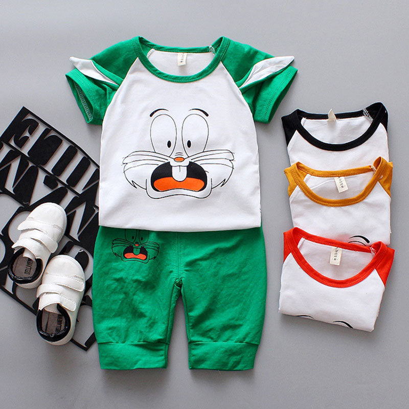 Newborn Baby boys Clothes Sets Outfits Casual Kids Shirts Cat cartoon pan 2pcs suit Child cute Clothing for baby boys sets