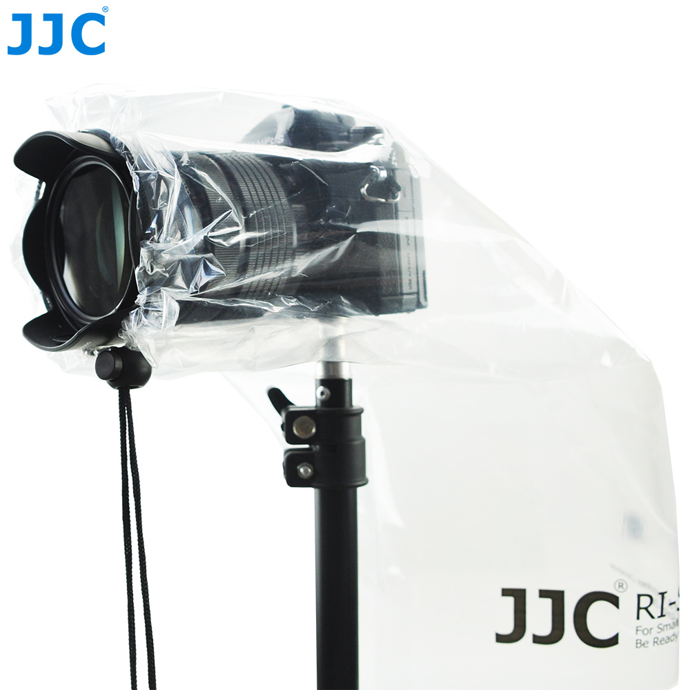 JJC 2PCS DSLR Lens Rain Cover Protector Mirrorless Cameras Raincoat for Canon Nikon Sony Fuji Panasonic Leica See-through Bag