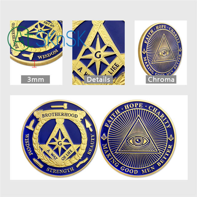 1/3/5/10pcs Brotherhood Freemasons Masonic Challenge Coin Making Good Men  Better Golden Design Mason Token Coins Collection