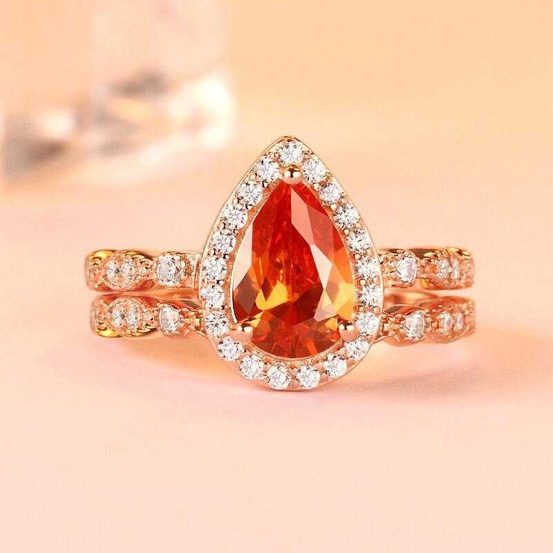 Romantique plus récent or rose poire coupe goutte d'eau forme fiançailles mariages anneaux ensemble dames de luxe bijoux de mode