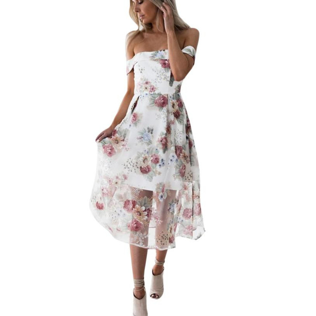 Feitong Newest Fashion Women Summer Dress elegant Off Shoulder Short Sleeve  Floral Printed Bodycon Vintage Long e16c2953bd28