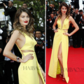 The 67th Festival de Cannes Red Carpet Dress V Neck with Tulle High Slit Yellow Satin Isabeli Fontana Cannes Celebrity Dresses