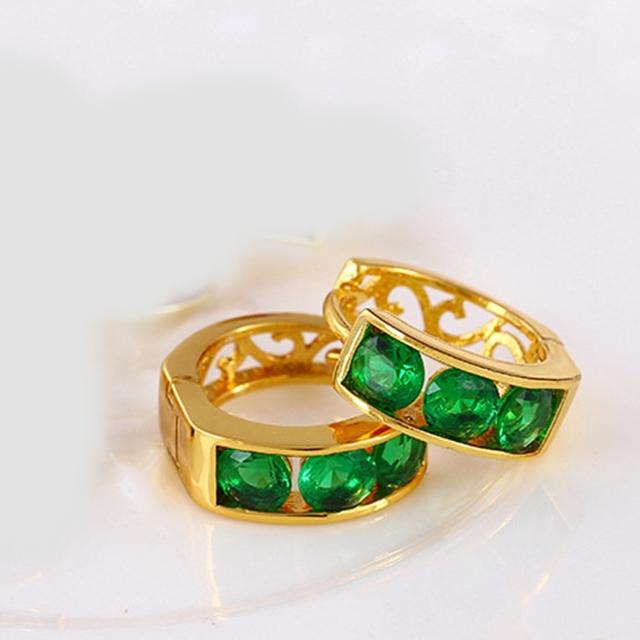 Bucle ronda Verde Tiny AAA + CZ Huggie Pendientes de Alta Calidad pequeño Aro Pendientes Para Las Mujeres Joyería Al Por Mayor Caliente