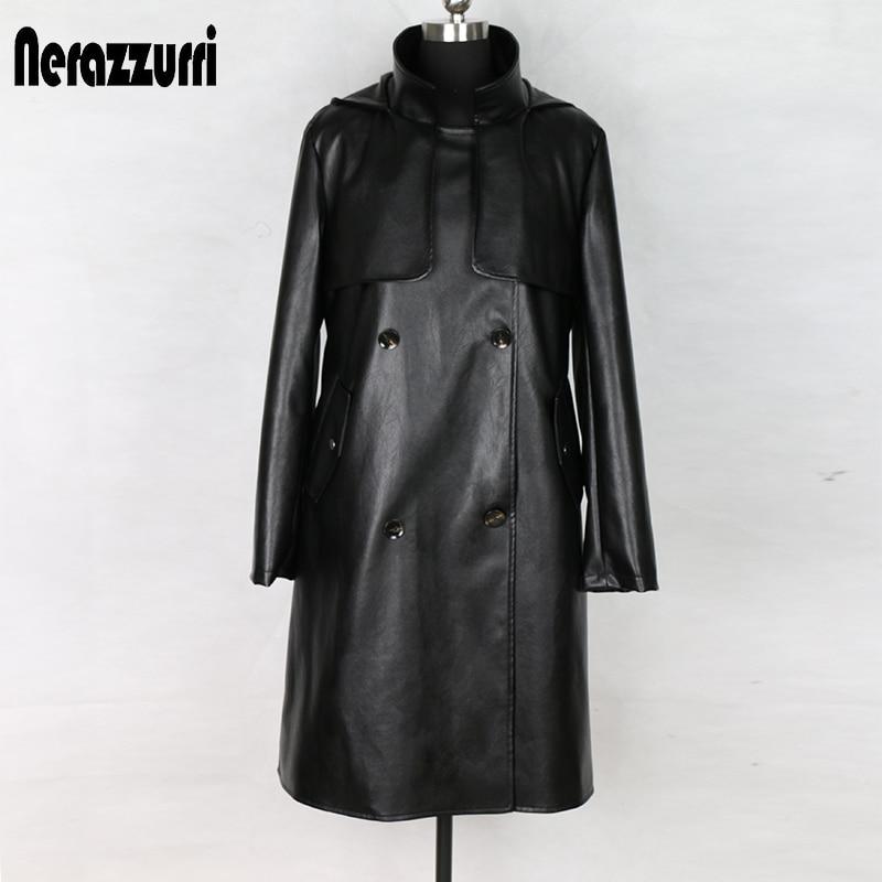 Nerazzurri Fashion Trench Coat For Women Plus Size Black Pleated Long Sleeve Hooded Autumn Faux Leather Jacket Women 5xl 6xl 7xl