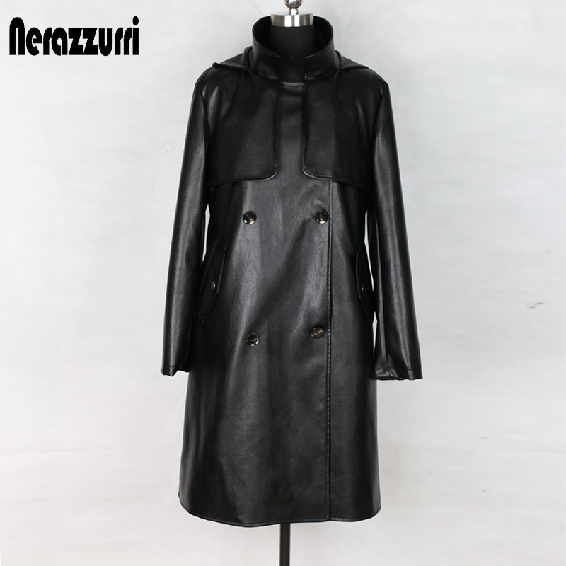 Nerazzurri fashion trench coat for women plus size black pleated long sleeve hooded autumn faux   leather   jacket women 5xl 6xl 7xl