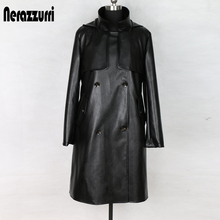 Nerazzurri fashion trench coat for women plus size black ple