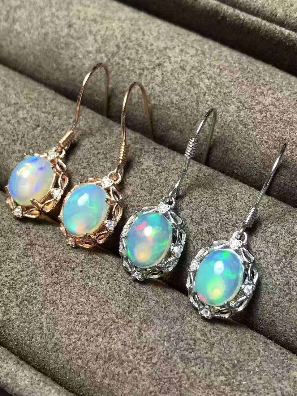Natural opal gem drop earrings 925 silver natural gemstone earrings Stylish elegant round women party fine gift Earrings jewelry