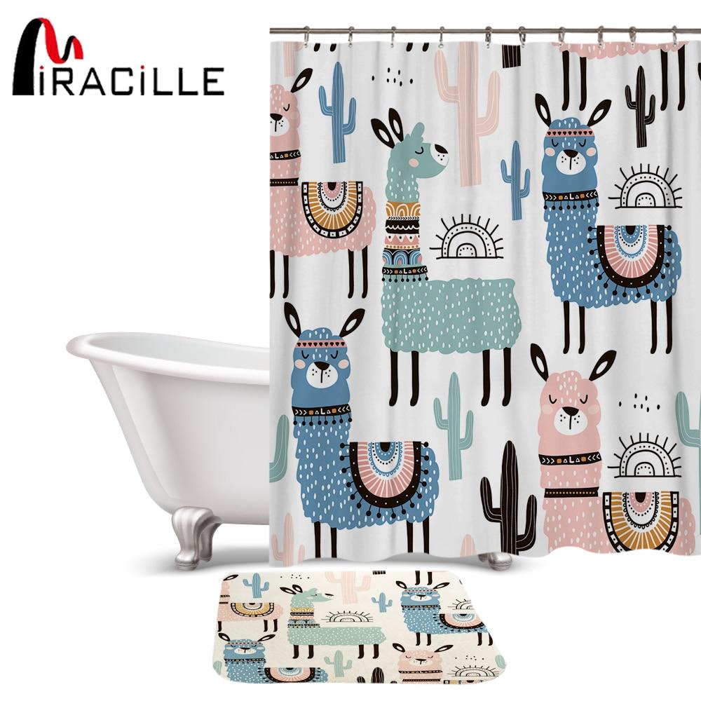 Miracille Lovely Cartoon Alpaca Pattern Polyester Waterproof Shower Curtains With Rectangle Non-slip Floor Mat Bath Curtain Set