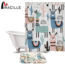 Miracille Lovely Cartoon Alpaca Pattern Polyester Waterproof Shower Curtains With Rectangle Non-slip Floor Mat Bath Curtain Set(China)