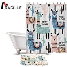 Miracille Mooie Cartoon Alpaca Patroon Polyester Waterdicht Douche Gordijnen Met Rechthoek Antislip Vloermat Bad Gordijn Set