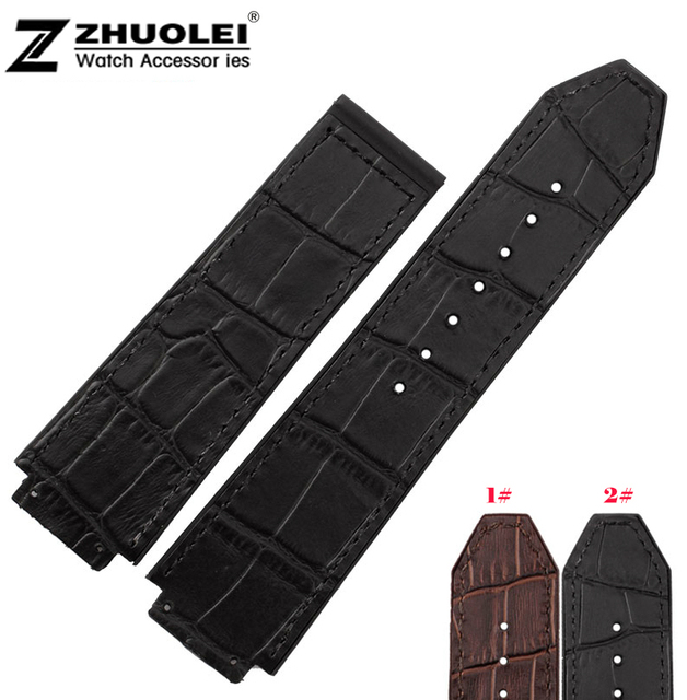 Watch accessories 25*19mm Waterproof Black brown Rubber Watch Strap Band Strap for Brand Men's watch band