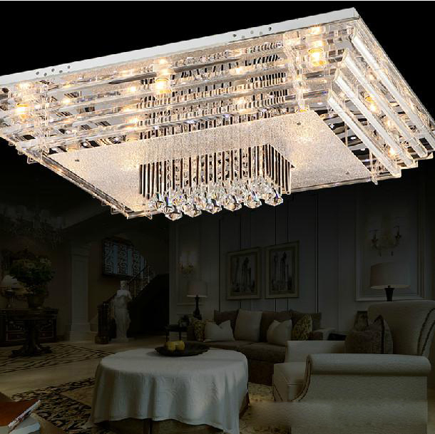 Free shipping modern fashion brief E27 crystal living room lamps transparent Chandelier Ceiling Lamps