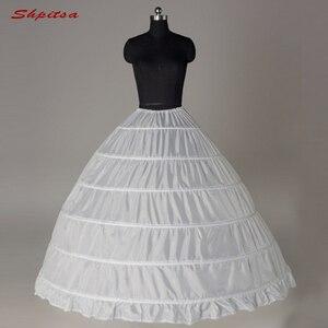 Image 1 - 6 Hoops Petticoat Underskirt for Wedding Dress Ball Gown Crinoline Woman Hoop Skirt