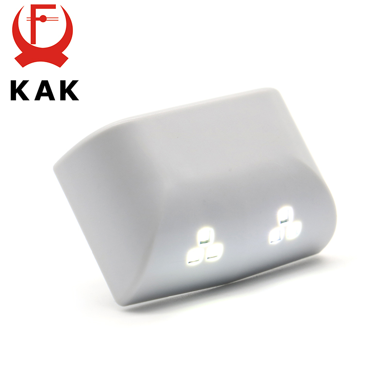 2PCS KAK Universal 0.25W Inner Hinge Six LED Sensor Night Light For Kitchen Bedroom Living Room Cabinet Cupboard Closet Wardrobe