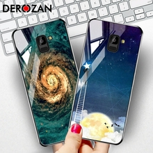 DEROZAN Painted Phone Case For Samsung Galaxy A5 2018 Case A8 2018 A530 Tempered Glass Glossy Luxury Back Cover Protective Shell protective glass red line for samsung galaxy a8 2018 a530