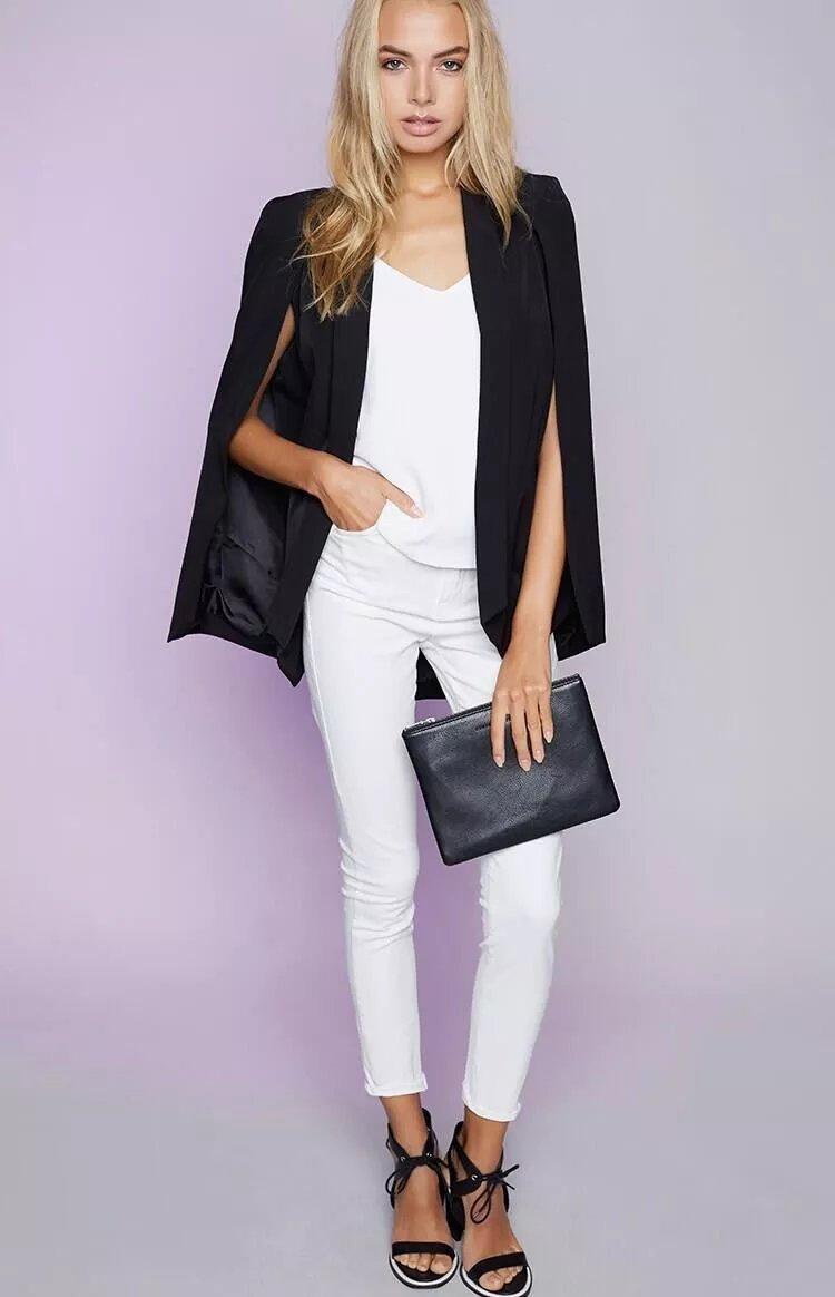 Veste blazer sans manche noir femme