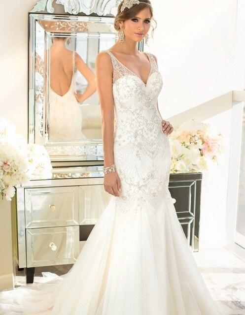 Schönsten Diamant Perlen Hochzeit Kleid 2016 Sexy Backless ...