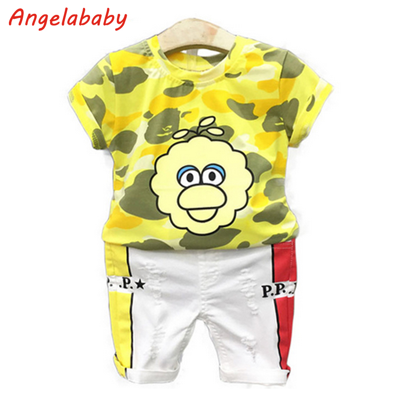 Boys Clothing Set 2017 Summer New Boy Camouflage Short Sleeve O-Neck T-shirt + Cowboy Casual Pants 2 Pcs Kids Clothes Suit рюкзак polar polar po001buiqj49