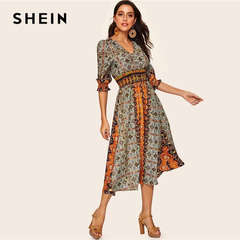 84f806482d Aliexpress.com : Buy SHEIN Tribal Print Shirred Detail Dress Women Bohemian  V Neck Puff Sleeve Half Sleeve High Waist Spring Autumn Dresses from  Reliable ...