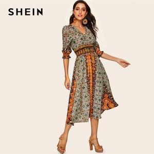 Image 3 - SHEIN Платье С Оборками И Этническим Принтом, Разноцветное Нарядное Макси Платье С Средним Рукавом