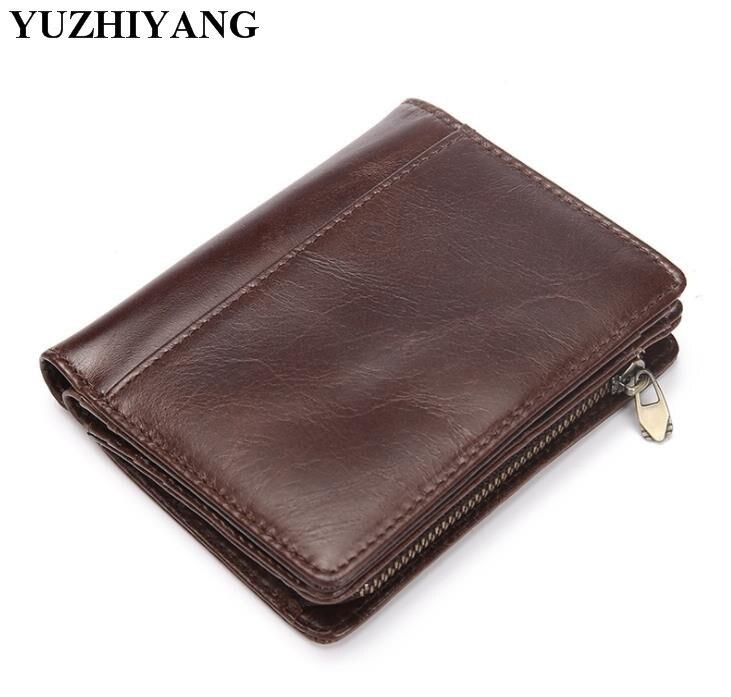Boa qualidade da carteira de couro dos homens homens carteiras de couro genuíno com zíper marrom mens carteira grampo do dinheiro silm homem carteira
