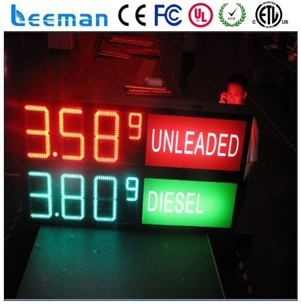 leeman outdoor led clock temperature display/ gas station price led sign board/ factory price solar RF Wireless led gas price