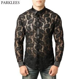 Image 1 - 남자의 잎 자수 투명 셔츠 슬림 피트 섹시한 Clubwear 드레스 셔츠를 통해 볼 남자 파티 이벤트 레이스 쉬어 탑스 블라우스