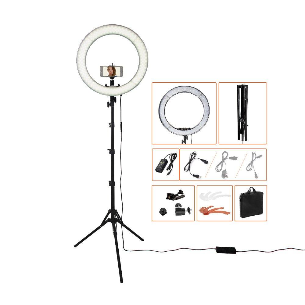 Fusitu RL-18 55 w 5500 k 240 LED Éclairage Photographique Dimmable Caméra Photo/Studio/Téléphone Photographie Anneau Lumière lampe & Trépied Stand