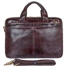 цена на Free Ship 100% Genuine Leather Men's Brown Laptop Bag Handbag Briefcase Messenger # 7092-3C