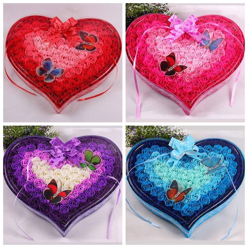 100Pcs/Box Floral Scented Bath Soap Rose Flower Petals Rose Soap Set Guest Soap Shaped Petals Butterfly Heart Shape Gift Box