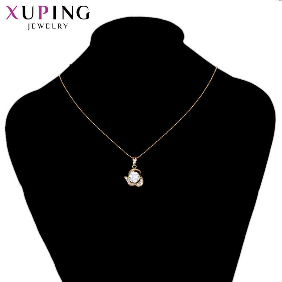 Xuping Fashion Elegant Party Temperament Golg Color Plated Necklace Pendant for Women Girls Christmas Jewelry Gift S73,7-33265