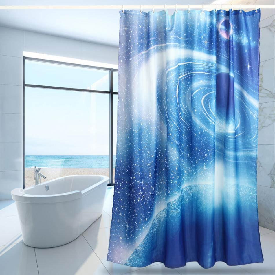 Blue bathroom curtains - 3d Blue Sky Printing Polyester Fabric Shower Curtains Thicken Shower Curtains Waterproof Home Bathroom Curtains