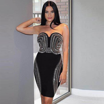 Celebrity Party Bandage Dress Women Sleeveless Strapless Sequined Sexy Night Out Club Dress Women Bodycon Vestidos