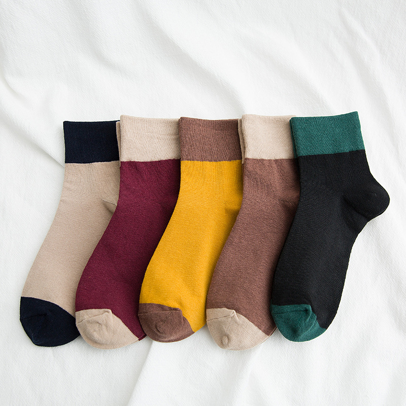 50Pairs/Lot Women Cotton Socks  Patchwork Spring Wholesale Autumn Color Fashion Solid Female Crew Antique Japanese Casual
