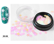 1 Box 6 Colors Nail Art Christmas Snowflake Sequins Manicure 3D Decorations DIY Tools