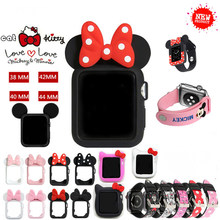 new Cute Kitty Cat Minnie Mickey Silicone Case For Apple Watch Series 4 3 2 1 Leather Band For Iwatch 38 42 40 44mm Kid Girl(China)