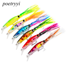 POETRYYI 14cm 40g Lure Fishing Lures Treble Hooks Top water Ray Squid With whiskers Minnow Crank Strong Artificial Bait Y30 wlure wire through the body crankabit for saltwater sea ocean fishing lure 40g 14cm slow wobble 1 0 treble hooks 3d eyes m525