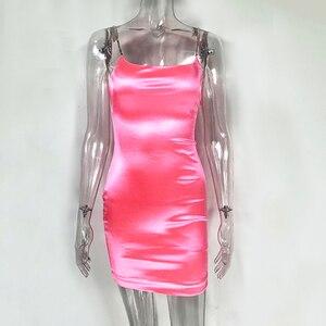 Image 4 - NewAsia robe en Satin moulante Sexy pour femmes, tenue de soirée, boîte de nuit, paillettes roses, Mini, vêtements de soirée