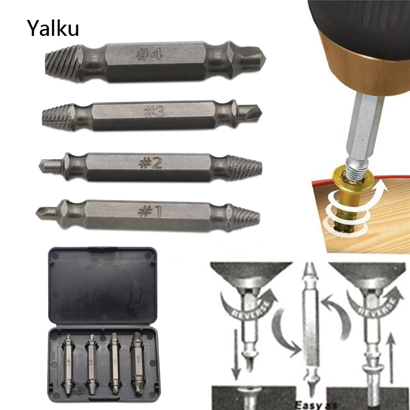 Yalku 4Pcs Screw Extractor Drill Bits Guide Set Broken Damaged Bolt Remover Double Ended Damaged Screw Extractor Drill Bit Tool high quality 4pcs drill bits set broken bolt remover double side screw extractor power tools kit 1 2 3 4 wholesale price