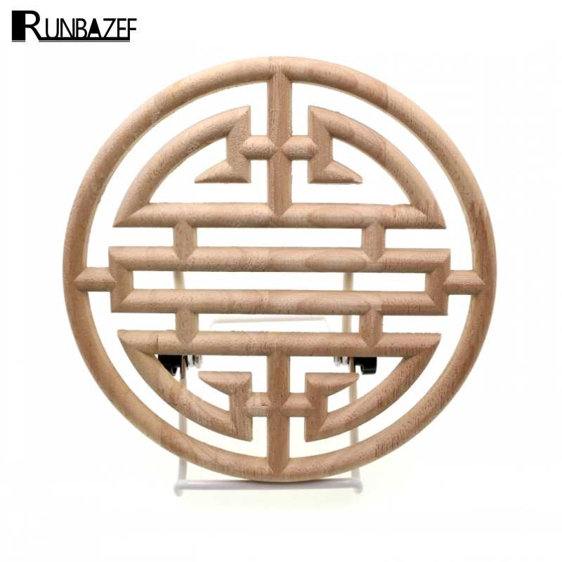 RUNBAZEF Chinese Style Vintage Flora Wood Carved Applique Wooden Carving Decal Furniture Cabinet Door Frame Home Decor Crafts
